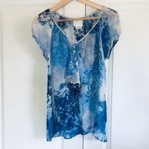 Anna Sui for Anthropologie 100% Silk V Neck Blouse